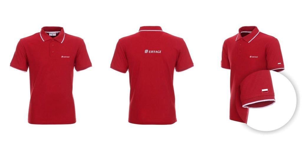 Czerwona koszulka Polo z białym nadrukiem