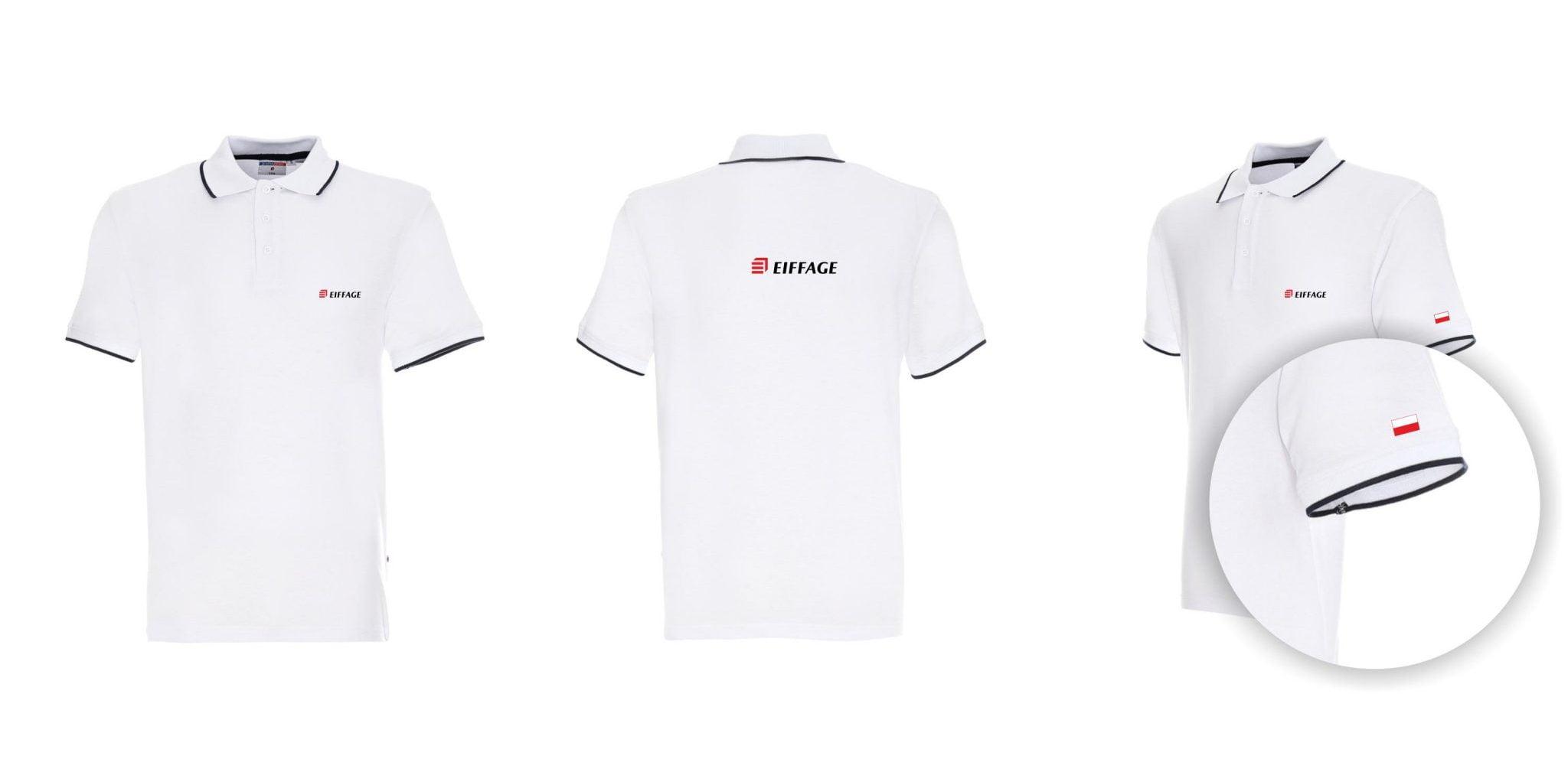 Biała koszulka Polo z nadrukiem reklamowym dla Eiffage