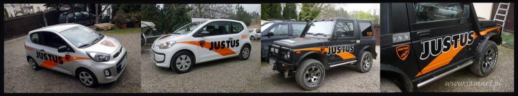Reklama na autach firmowych dla Justus Kraków