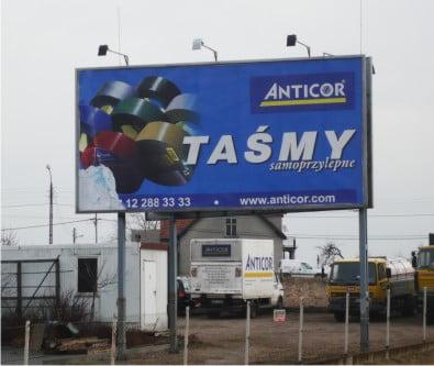 Tablica reklamowa dla Firmy Anticor