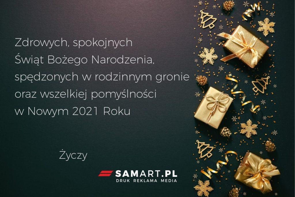 SamART Agencja reklamowa składa życzenia Świąteczno - Noworoczne