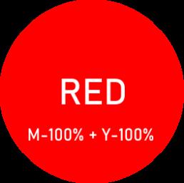 Kolor czerwony - przedsyawiony jako barwa uzyskana ze zmieszania magenty i koloru żółtego