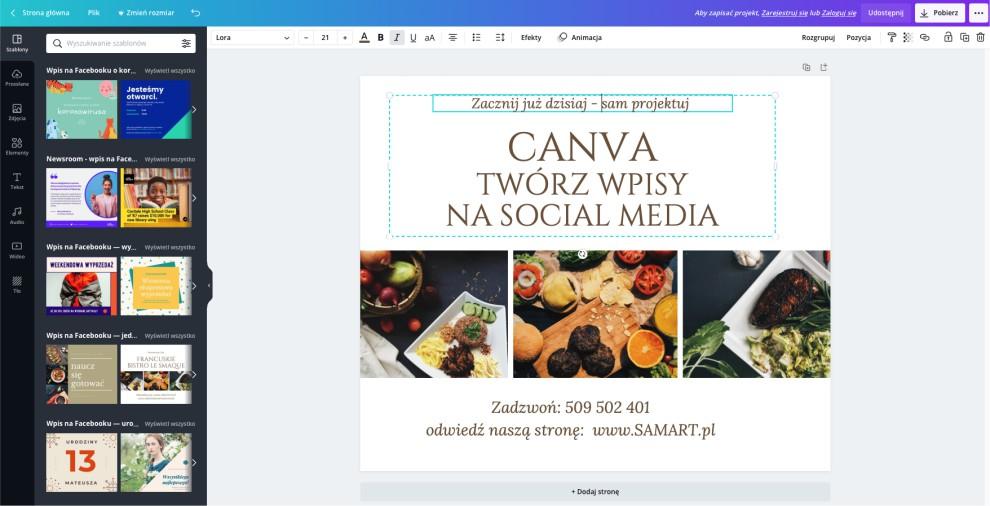 Obsługuj social media w darmowym programie online - Canva