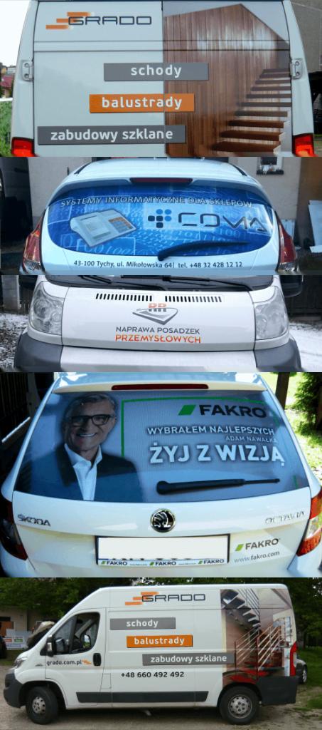 Przykład naklejek na samochodach w wersji Full kolor