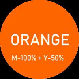 Kolor pomarańczowy - uzyskany z palety CMYK - mix koloru magenty i żółtego